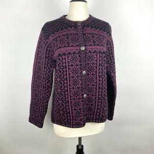 Vintage Skyr Wool Purple Black Fair Isle Cardigan
